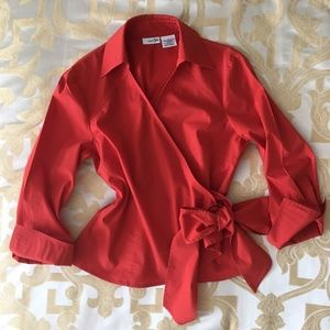East 5th Bright Red Orange Blouse